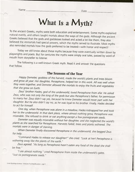worksheet mythology worksheets worksheet