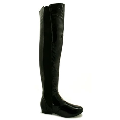 buy neptune flat stretch the knee boots black patent