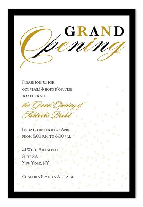 Business Opening Invitation Cards Templates by Grand Opening Confetti Invitation Inspiration