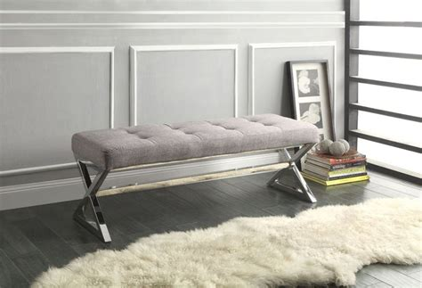 Gray Bedroom Bench Tufted X Leg Bench Grey Gray Chrome Metal Ottoman Seating