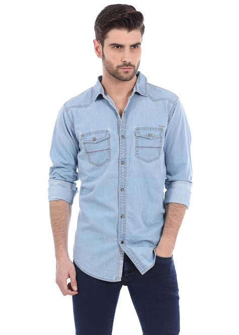 Denim Shirt basics essentials blue twill weave denim shirt 15bcsh32870