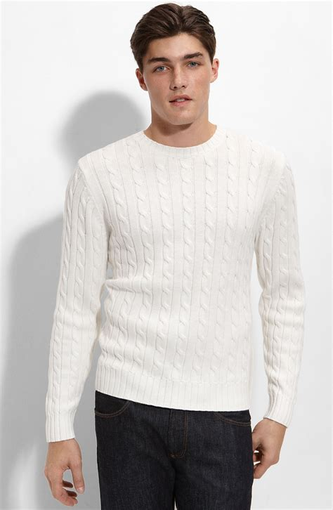 White Sweater 1901 athletic fit cable knit cotton sweater in