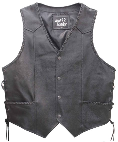 Mens Black Leather Waistcoat Biker Vest Braided Sides