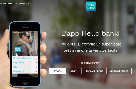hello bank application smartphone tablette et smartwatch