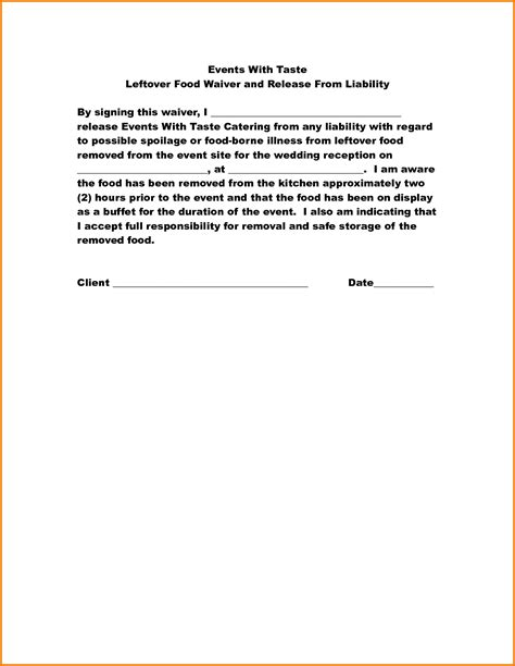 12 food disclaimer template financial statement form