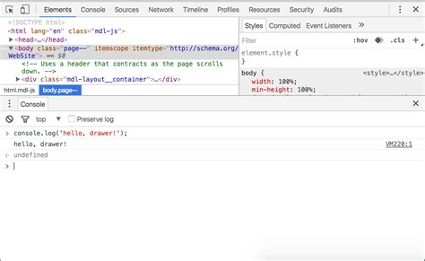 chrome developer console using the console tools for web developers