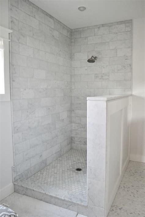 gray  white carrara marble master bathroom modern