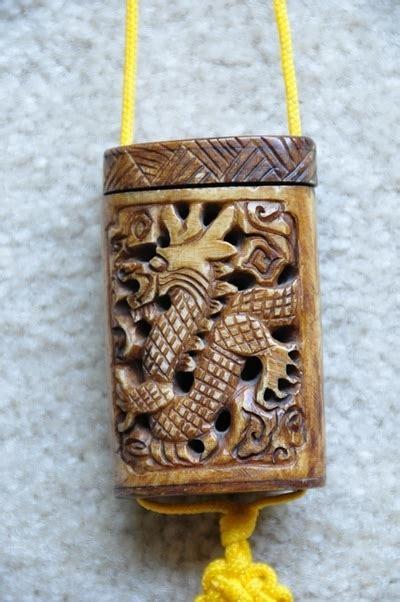 japanese bone inro  carved dragon  tassels