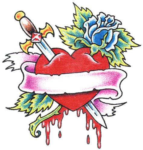 rose heart tattoo designs banner sketch tattooshunter