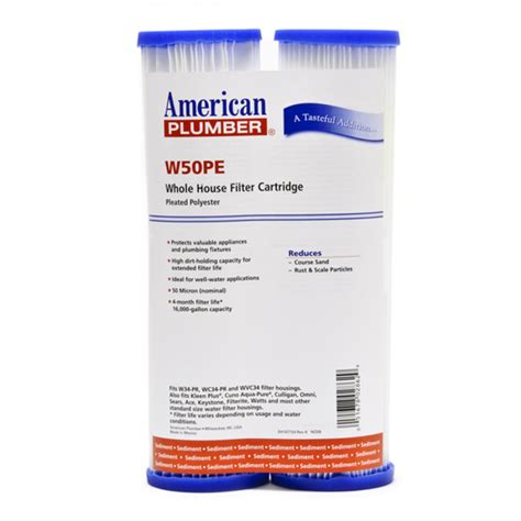 Plumbing Filters by American Plumber W50pe Whole House Sediment Filter Cartridge 2 Pack