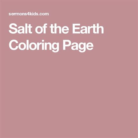 salt of the world coloring page salt of the earth coloring page sunday school