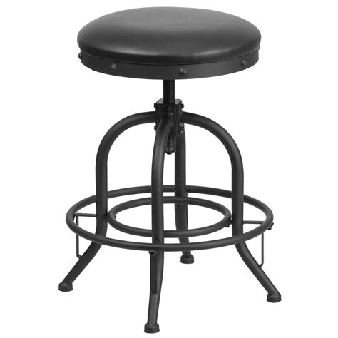 Black Swivel Bar Stool Flash Furniture Adjustable Height Black Swivel Cushioned Bar Stool Etbr542224 The Home Depot