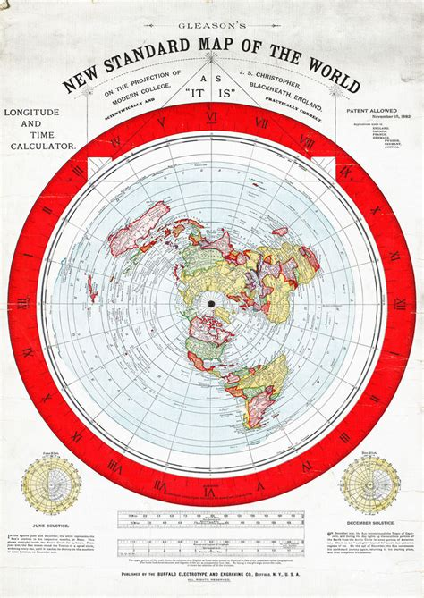 standard map flat earth map 1892 gleason 16 quot x23 quot new standard