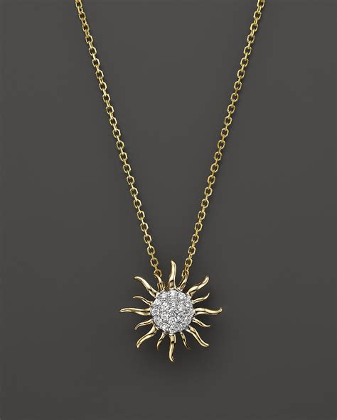 Diamond Sun Pendant Necklace in 14K Yellow Gold, .10 ct. t.w.   Bloomingdale's