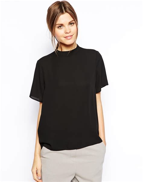 High Neck Blouse S Shirts by Asos High Neck Shirt In Black Lyst