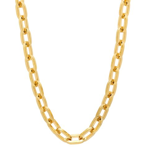 14k 6mm solid polished cable chain cable chains 6mm 14k gold plated round cable link chain
