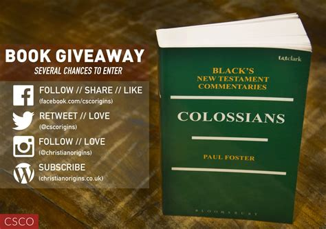 Cookbook Giveaway - book giveaway colossians commentary csco