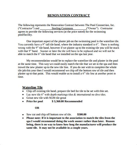 renovation estimate template remodeling contract template 9 free documents