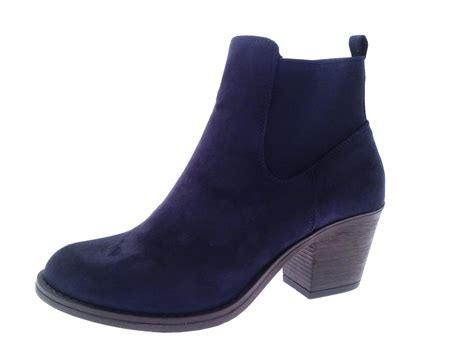 chunky ankle boots womens chunky block heel chelsea ankle boots faux suede