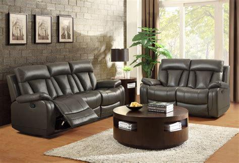 modern grey leather reclining sofa loveseat motion