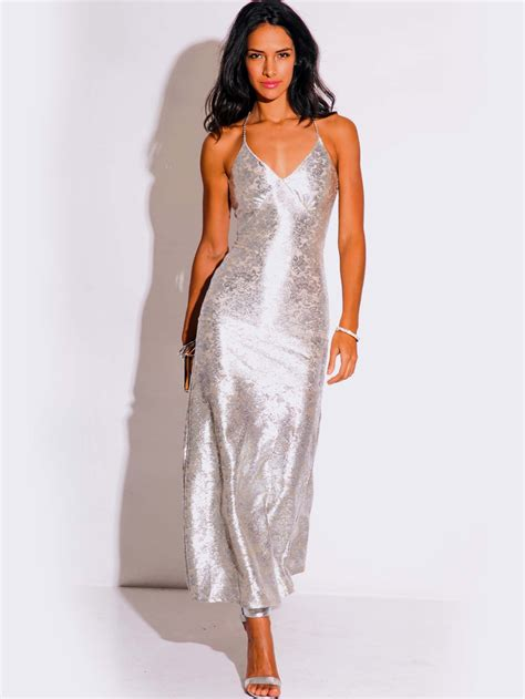 cocktail dresses for light silver metallic formal evening dress modishonline