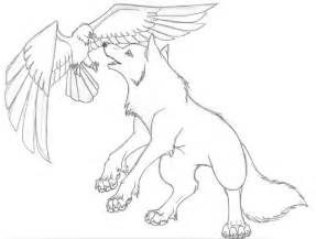 anime wolf with wings coloring coloring pages