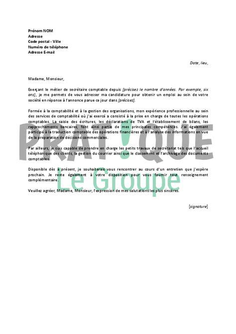 Exemple De Lettre De Motivation Pour Emploi Comptable lettre de motivation pour un emploi de secr 233 taire