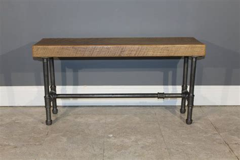 pipe bench salvaged reclaimed urban wood bench w industrial gas pipe