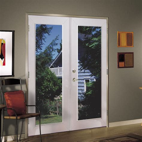Vinyl Exterior Doors Shop Reliabilt 174 6 Reliabilt Patio Door Vinyl 1 Lite Low E White In Swing Brick Mold Left