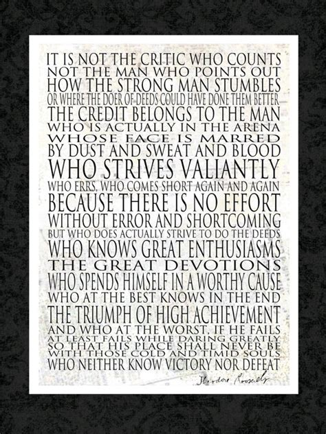 printable theodore roosevelt quotes man in the arena 16x20 canvas word art print other by
