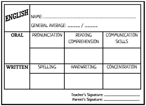 free report card template esl enjoy teaching report card template