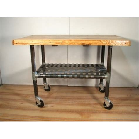Industrial Wood and Iron Wheeled Cart Kitchen Island