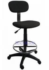 new drafting chair stool adjustable black fabric office ebay