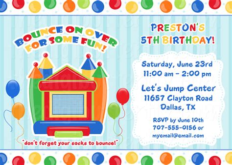 bouncy printables bounce house invitations template best template collection