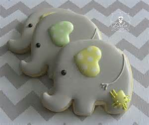 Decorated Elephant Cookies one dozen 12 baby elephant decorated sugar cookies