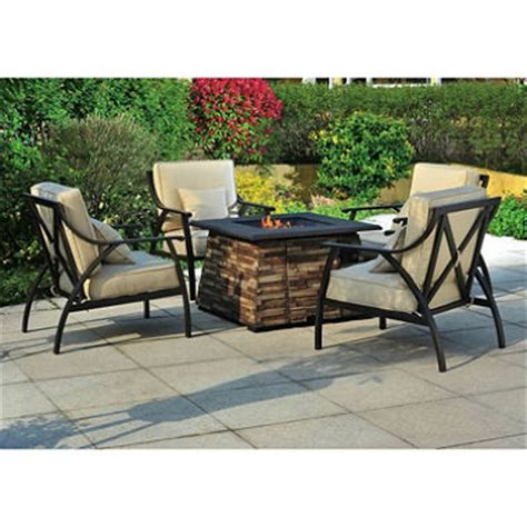 Fire Pit Table And Chairs Set Wishbone 5 Pc Fire Chat Set Liquid Propane Fire Pit