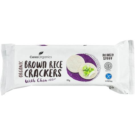 Chia Brown ceres organic brown rice crackers with chia 115g woolworths