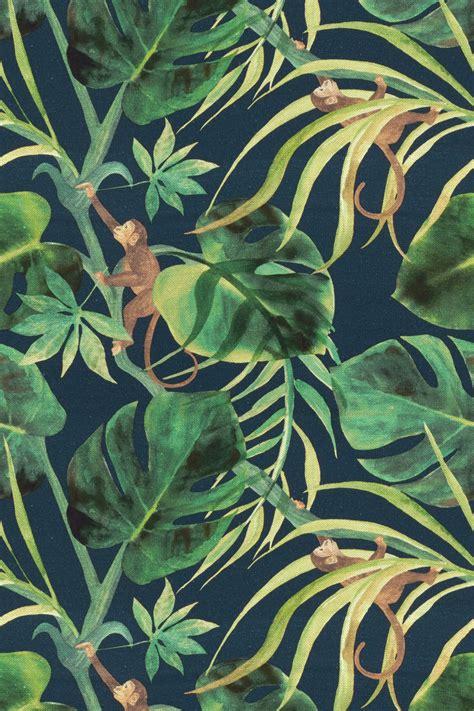 jungle pattern fabric monkey business indigo by clarke clarke brewers home
