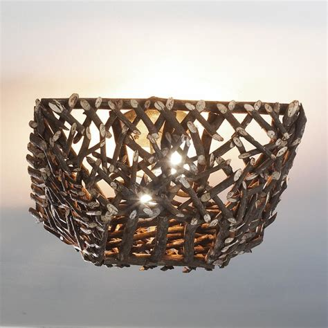 Twig Light Fixtures Square Sticks And Twig Ceiling Light Flush Mount Ceiling Lighting By Shades Of Light