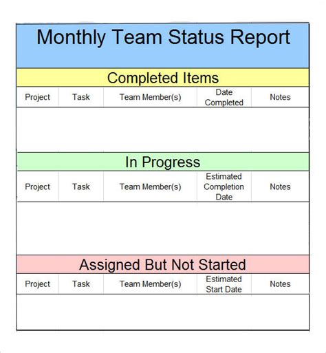 colorful monthly team status report template design