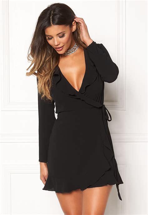 Clq Dress Mini Black zack wrap frill mini dress black bubbleroom