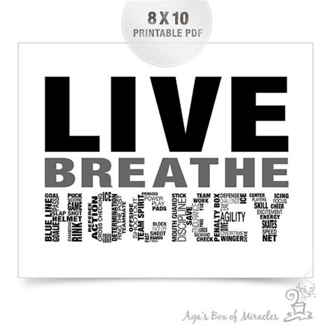 printable hockey quotes live breathe hockey printable sports digital file boys