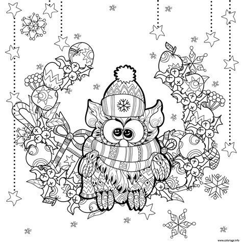 Coloriage Adulte Noel by Coloriage Adulte Noel Chouette Hibou Paysage Dessin