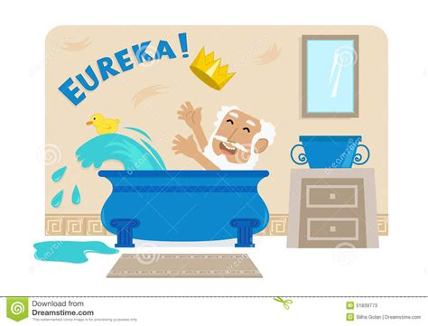 archimedes and the bathtub archimedes in bathtub stock vector image 51839773