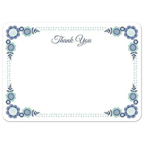 note card template with borders blue bloom flat thank you note card with from lemon leaf