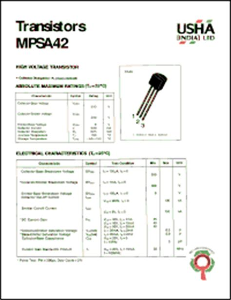 transistor ksp 42 equivalent usha mpsa42 datasheet