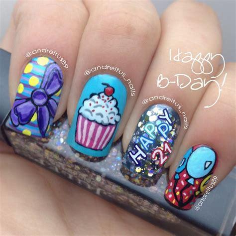 birthday themed nails 21 birthday nails bday party nail art notd nails