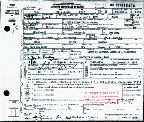 State Of Indiana Birth Records Kaiser Family