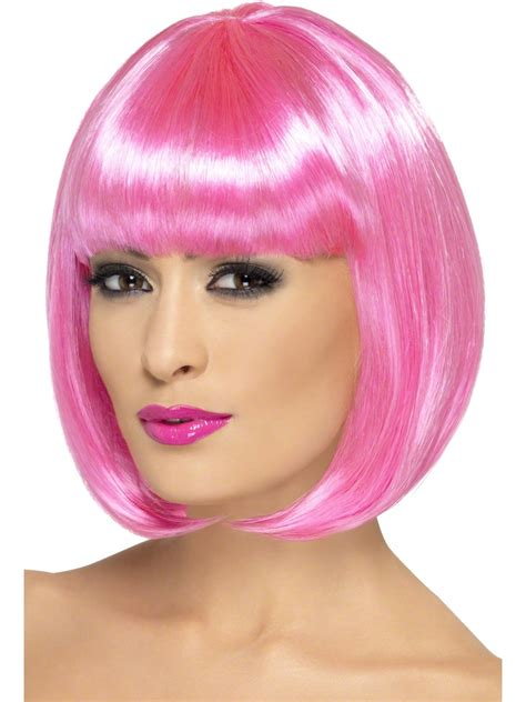 With Wig On by Pink Partyrama Wig 42392 Fancy Dress