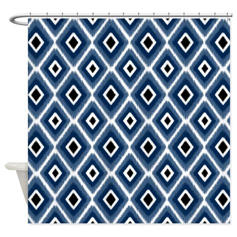 Navy Blue Ikat Curtains Designs Navy Blue Ikat Pattern Shower Curtain By Doodles